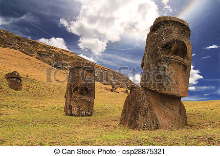 Stock Photo of Rano raraku moai csp28875321.
