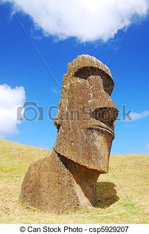 Picture of Easter Island Moai at Rano Raraku quarry where the moai.