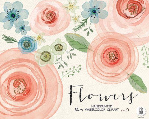 Aquarelle Blumen hand bemalte Hahnenfuß, Rosen, Nieswurz.