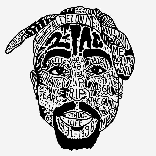 Illustration art hip hop rap Typography rappers Black.