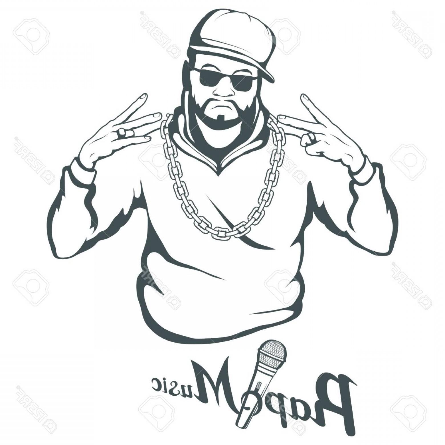 Photostock Vector Rap Music Icon Rapper Skull On White.
