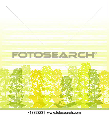 Clipart of Rape blossom silhouettes on lines k13393231.
