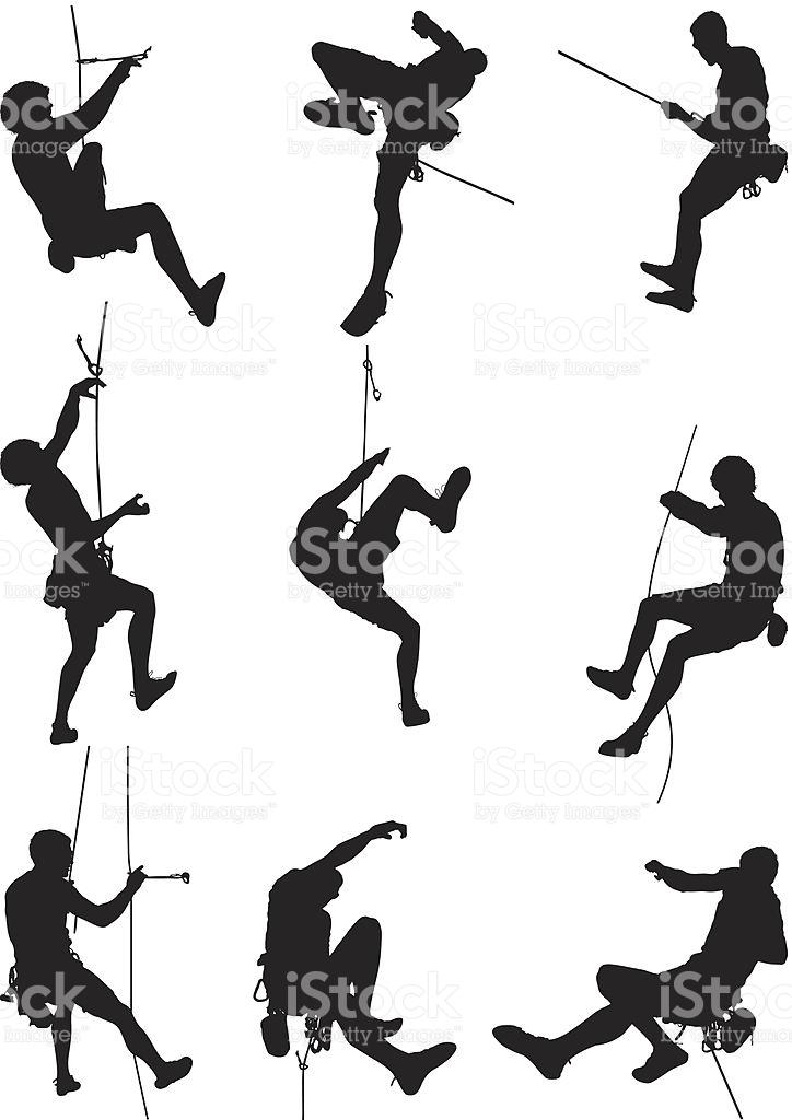 Men Rappelling And Rock Climbing stock vector art 165751513.