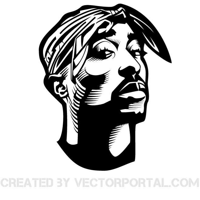 Vector portrait of rapper Tupac Shakur..