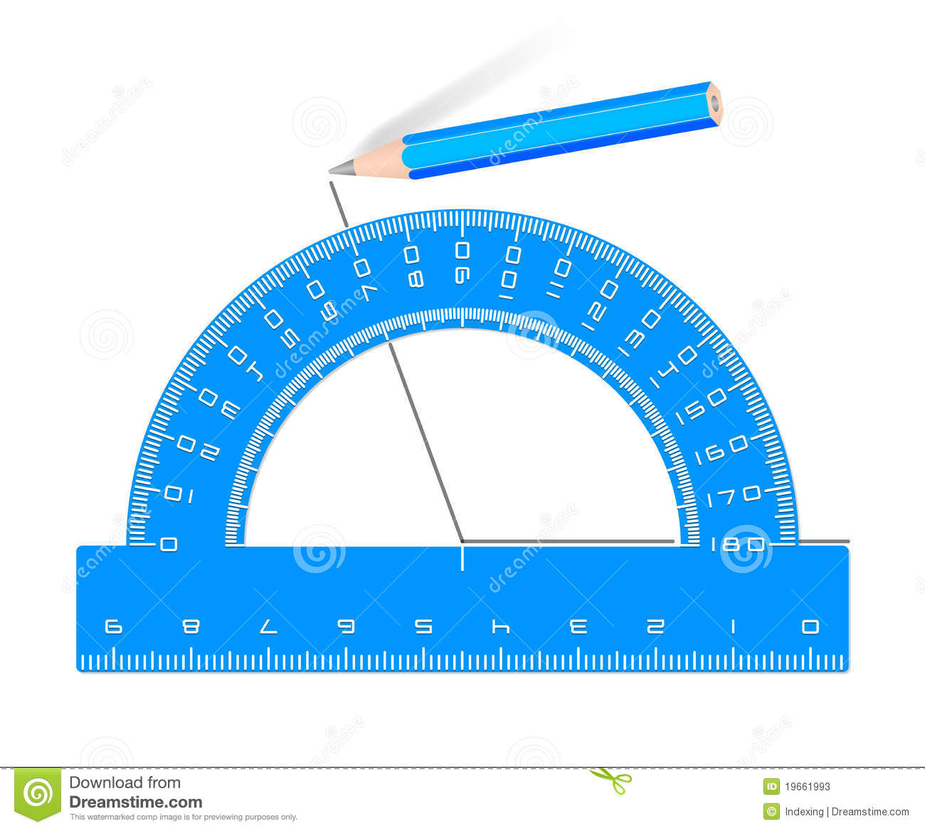 Drawing Angle Blue Protractor Pencil Stock Photos.