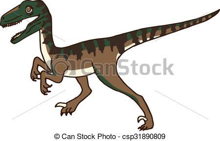 Vector Clipart of Cute Velociraptor / Raptor Dinosaur.