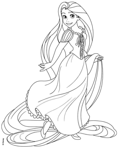 Rapunzel from Disney Tangled coloring page.