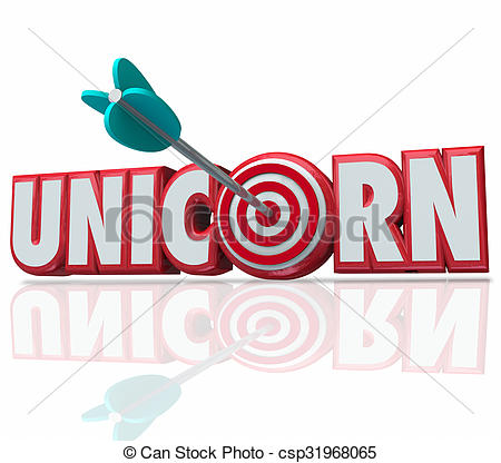 Stock Illustration of Unicorn 3d Word Arrow Bulls.