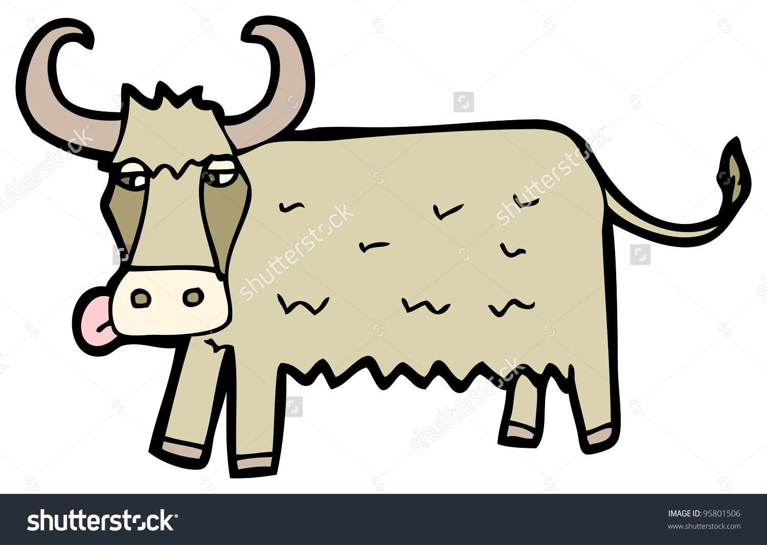 Cartoon Rare Breed Cow Stock Illustration 95801506.