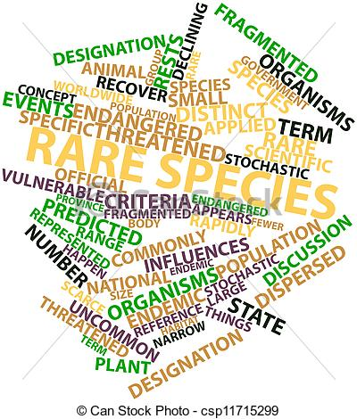 Stock Illustration of Word cloud for Rare species.
