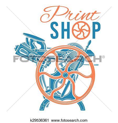 Clipart of Letterpress print shop vector illustration. Vintage.