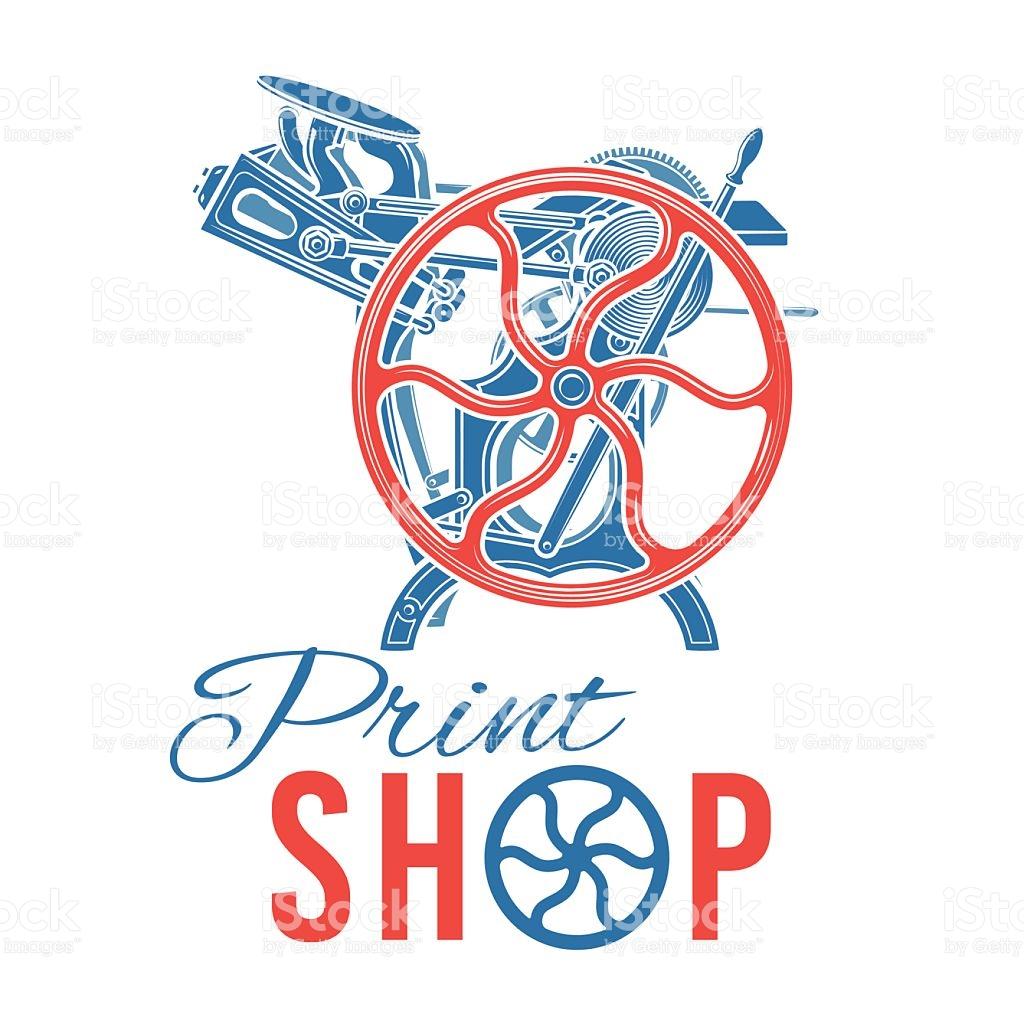 Letterpress Print Shop Vector Illustration Vintage Printing Logo.