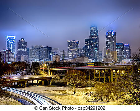 Stock Photography of rare winter weather in charlotte north.