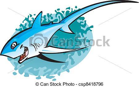 Clip Art Vector of Cartoon Thresha shark.