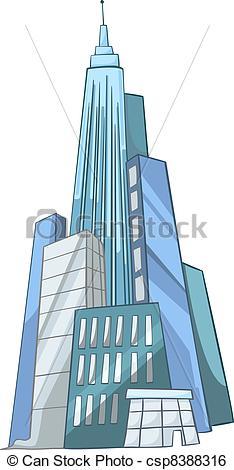 Clip Art Vector of Cartoon Skyscraper.