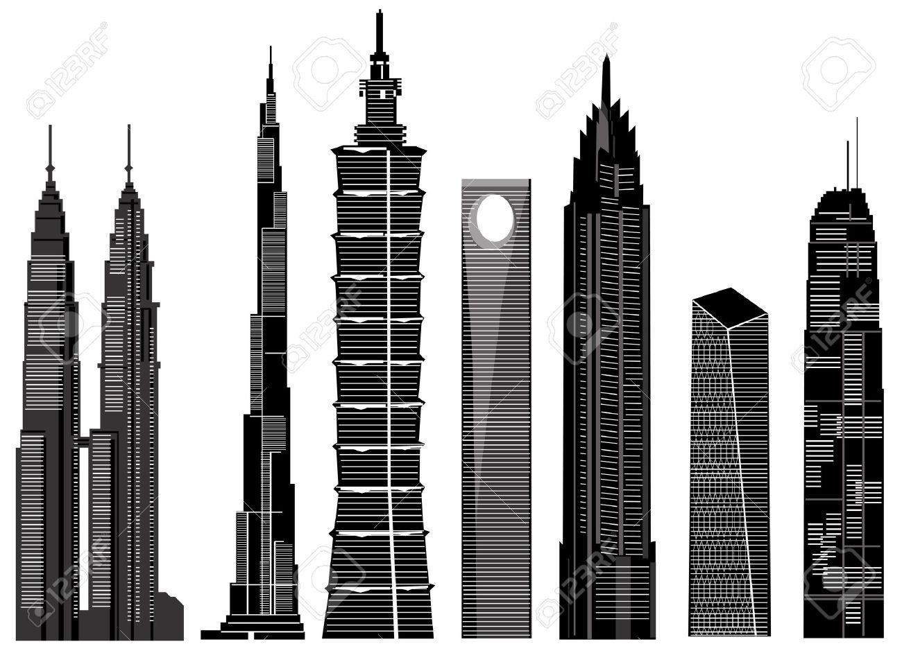Vector De Edificios Rascacielos Ilustraciones Vectoriales, Clip.