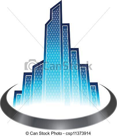 Vector Clip Art de Rascacielos, icono.