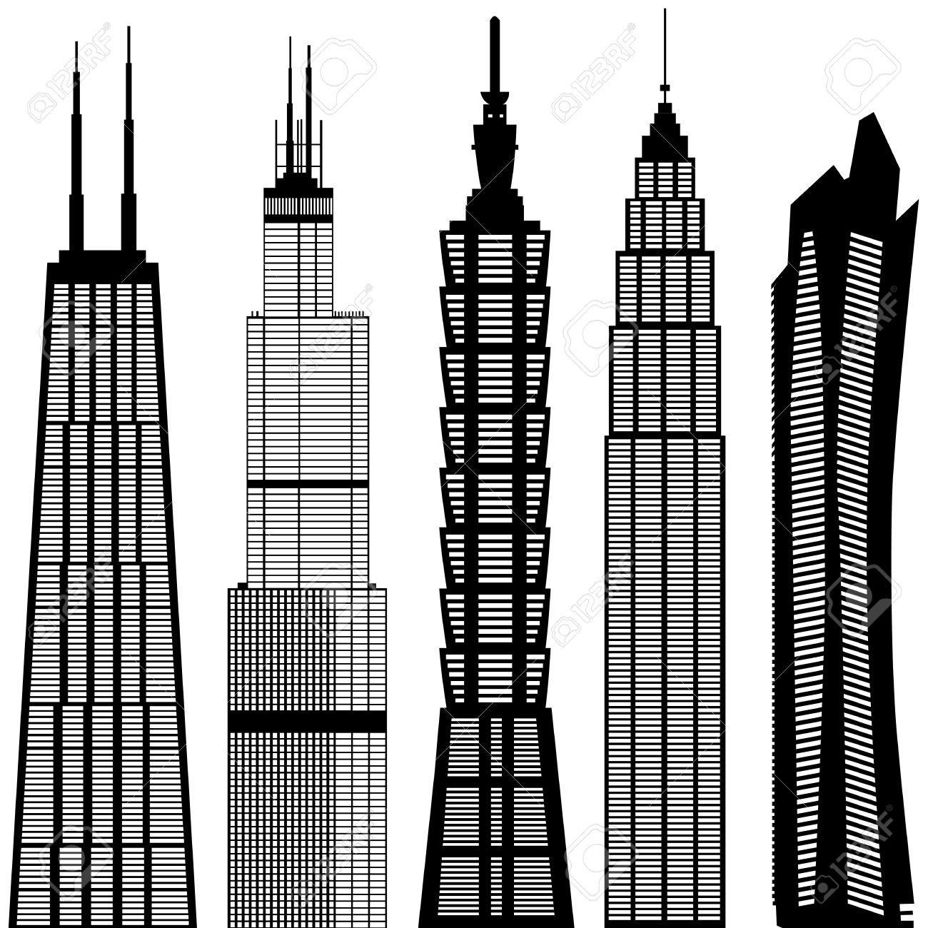 Edificios Rascacielos Ilustraciones Vectoriales, Clip Art.