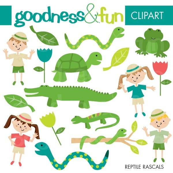 Buy 2 Get 1 FREE Reptile Rascals Clipart by goodnessandfun.