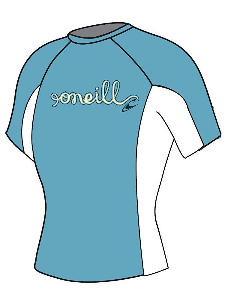 O\'Neill Wetsuits Girl\'s Skins Short Sleeve Crew Rash Guard.
