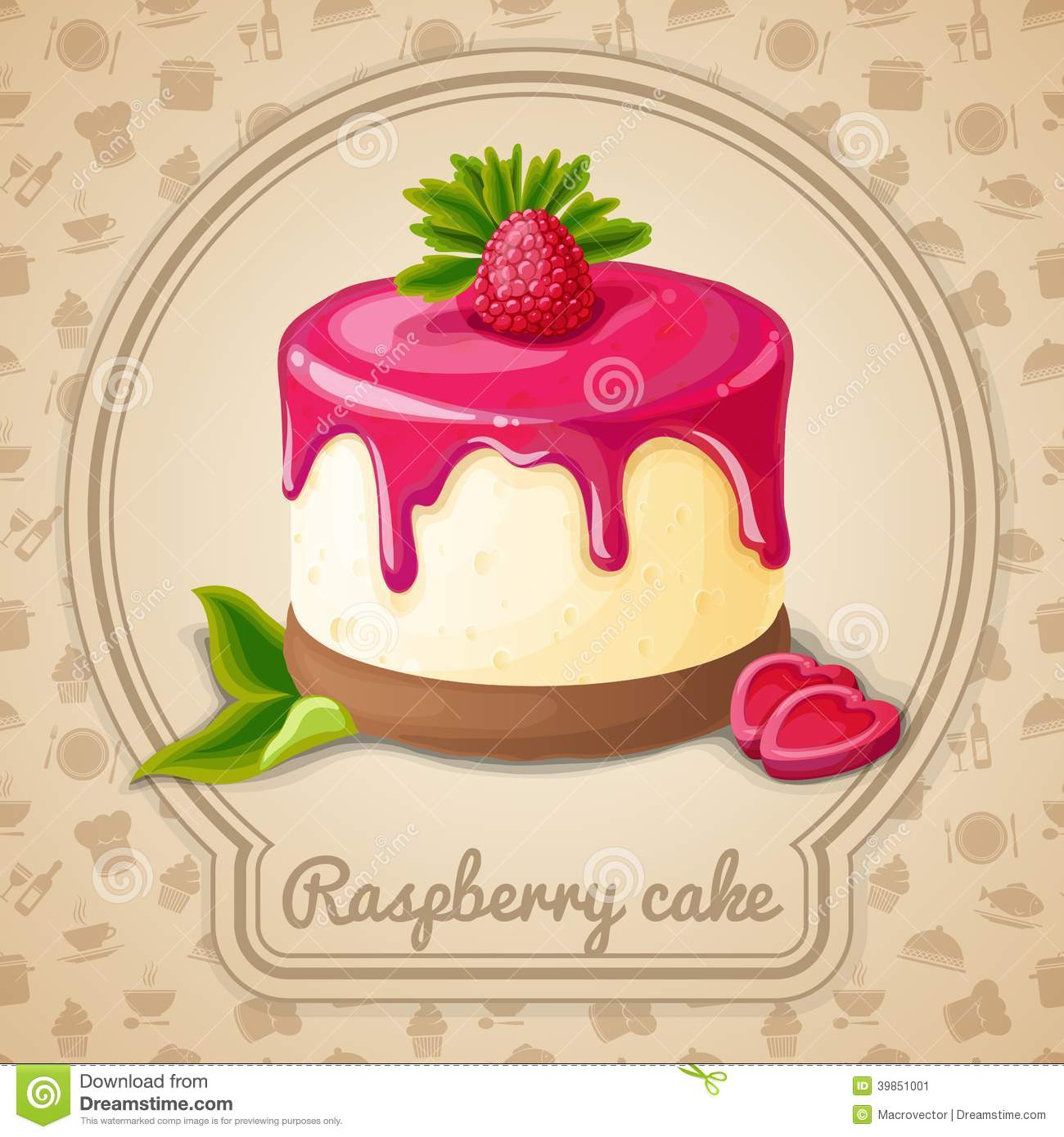 Raspberry Cake Emblem Stock Vector.