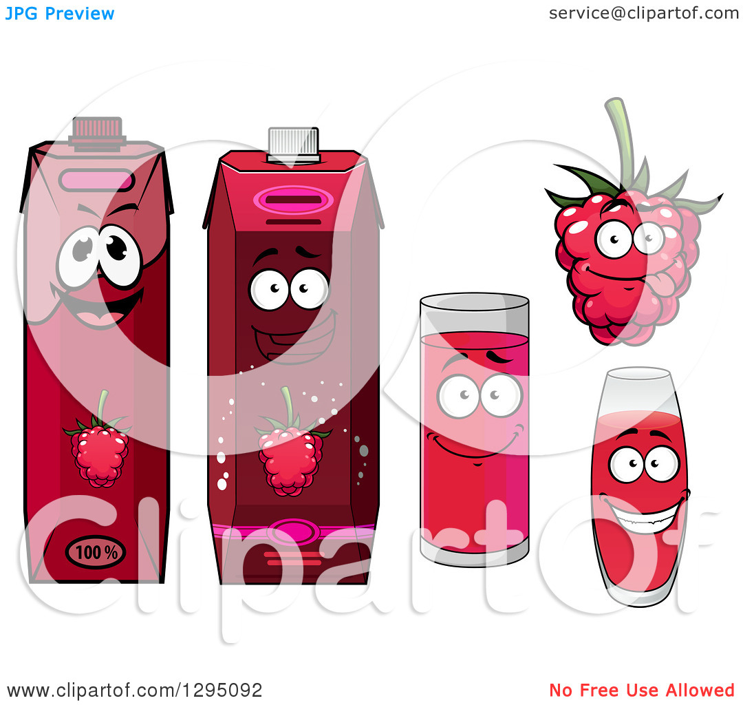 Clipart of a Happy Raspberry Character, Cups and Juice Cartons.