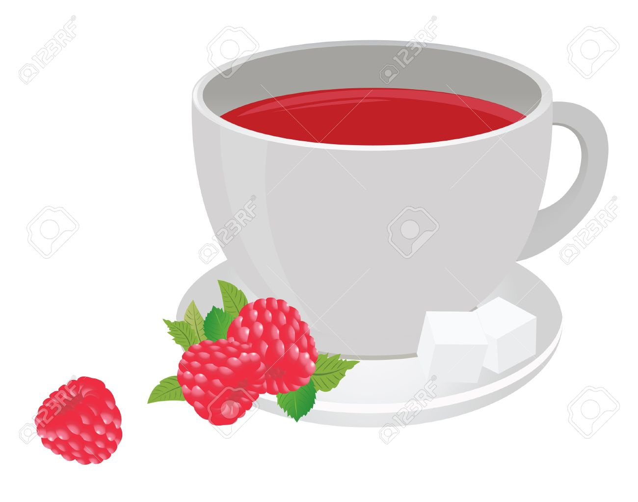 Tea Cup And Raspberry. Vector For You Design Royalty Free Cliparts.