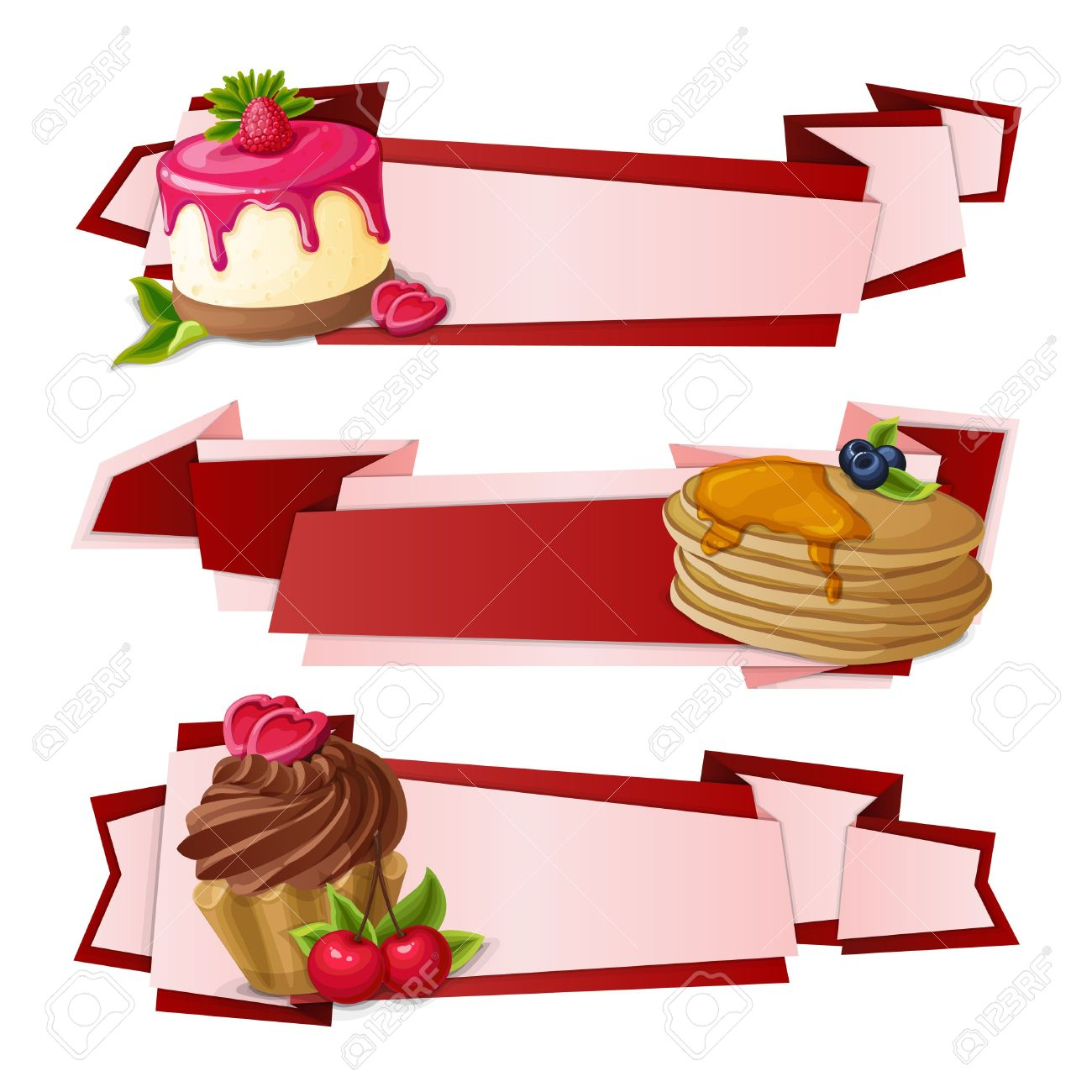 Decorative Sweets Food Paper Banners Set With Raspberry Pudding.