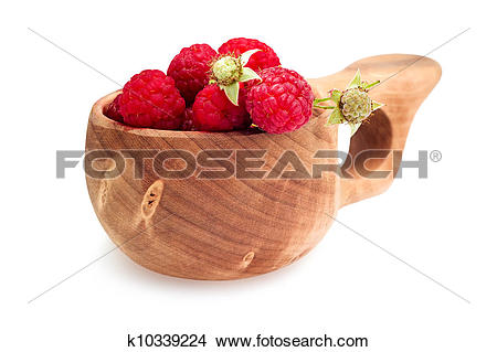 Stock Photo of Raspberries in the wooden cup k10339224.