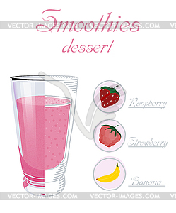 cup smoothie with raspberry, stra.