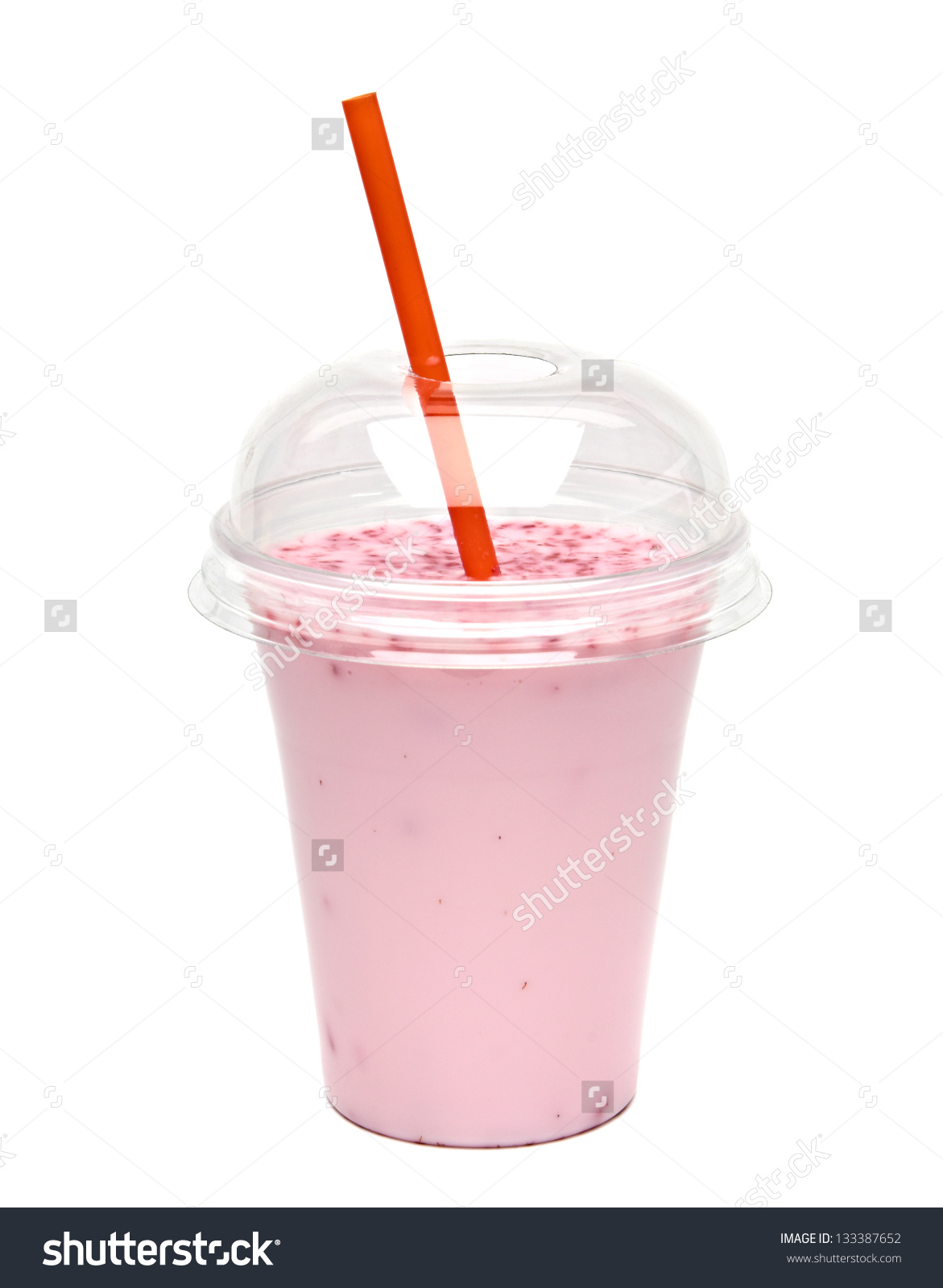 Raspberry Milkshake Take Away Cup Isolated Stock Photo 133387652.