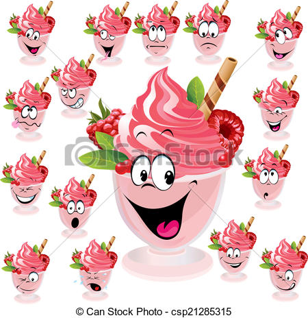 Vector Clip Art of ice cream with wafer, raspberry and mint in cup.