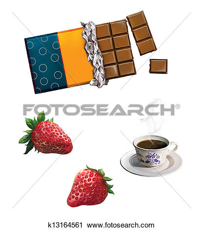 Clipart of bar of chocolate. strawberries, strawberry, Tea cup.