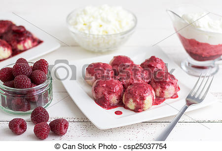 Stock Images of Raspberry Curd Balls.