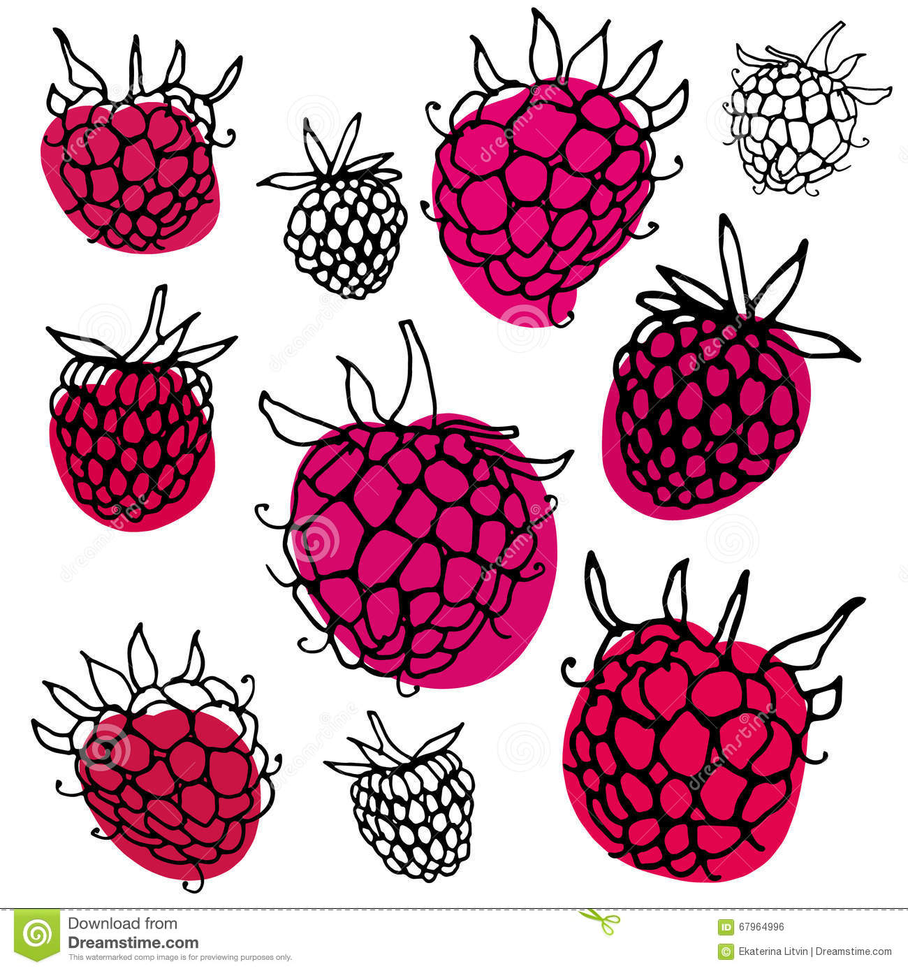 Pattern With Hand Drawn Raspberry. Stock Vector.