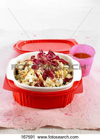 Stock Photography of Tofu,amaranth leaves and quinoa salad.