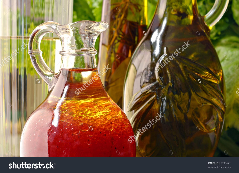 Sunlit Still Life Of Raspberry Vinaigrette Salad Dressing In Glass.