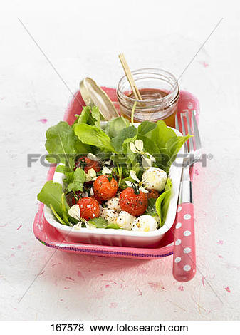 Pictures of Lamb's lettuce,cherry tomato and Bocconcini salad with.