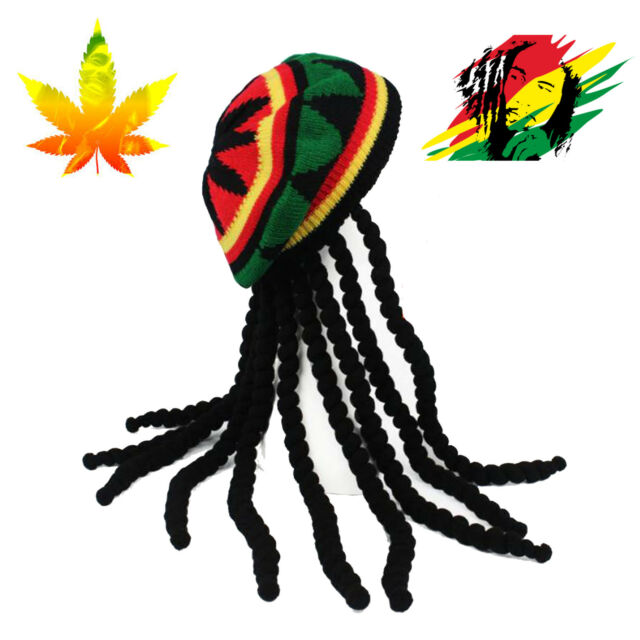 Jamaican Knitted Rasta Hair Hat with Dreadlocks Stone Wig Carribean Fancy  Dress.