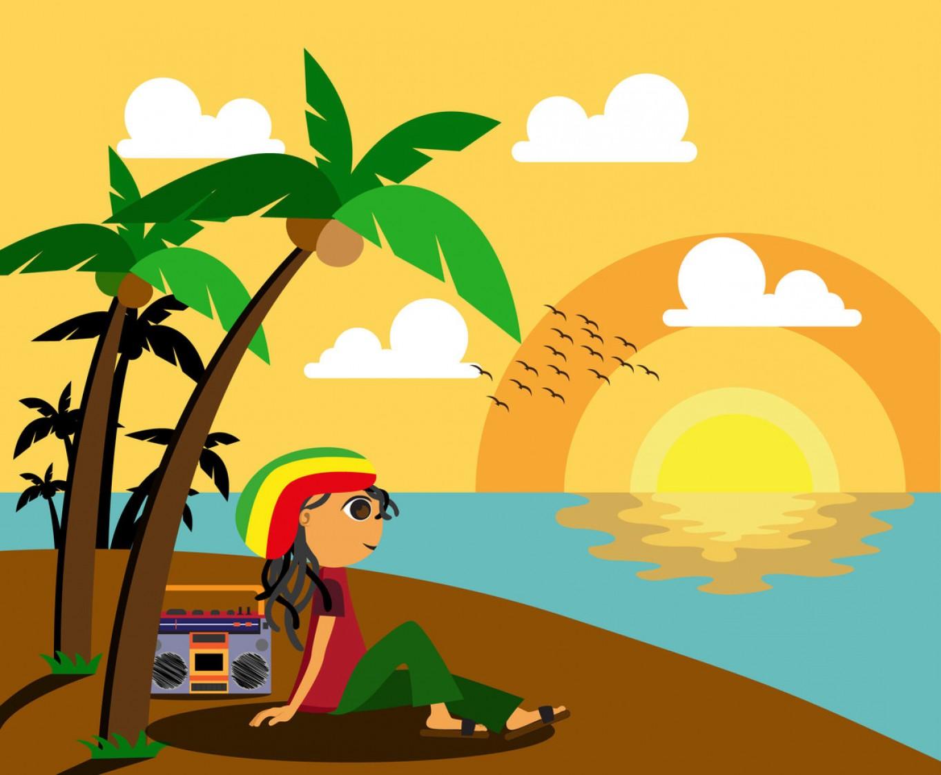 Rasta Man By The Beach Vector.