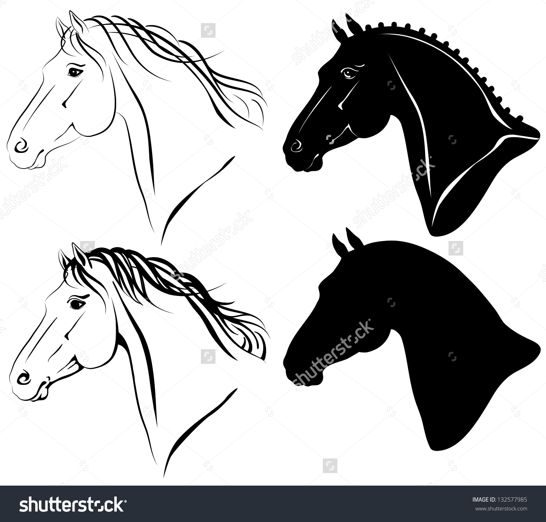 Raster Illustration Of Horse Head Clip.