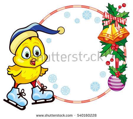 Cute Chicken Funny Hat Ice Skating Stock Illustration 540160255.