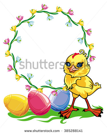 Easter Chicken And Round Frame With Flowers. Raster Clip Art.