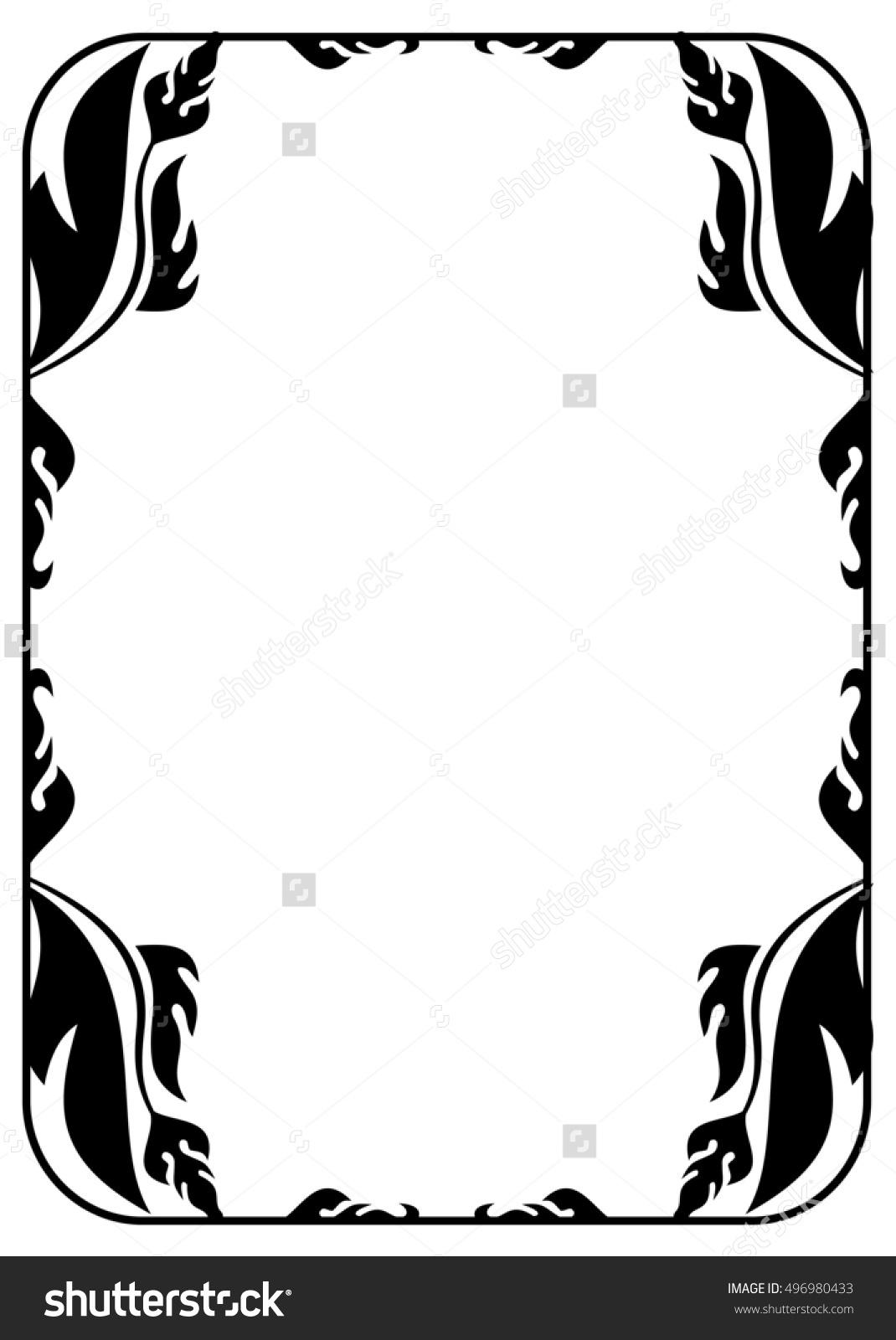 Black White Floral Silhouette Vertical Frame Stock Illustration.