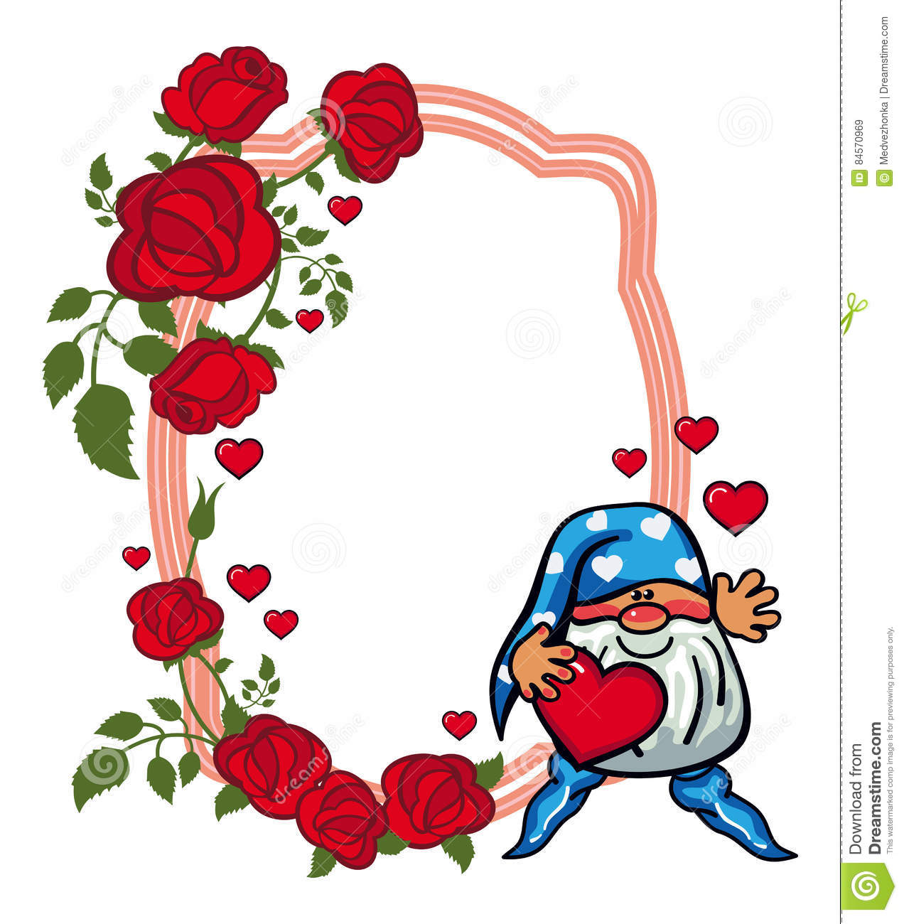 Oval Label With Roses And Cute Gnome Holding Heart. Raster Clip.
