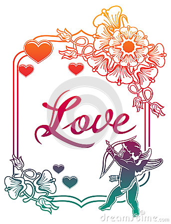 Cupid With Bow Hunting For Hearts. Raster Clip Art. Stock.