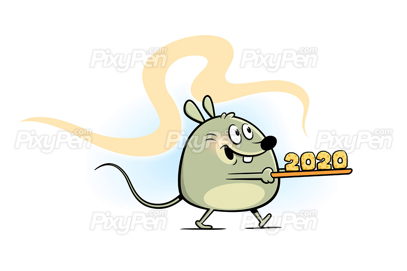Year of the rat 2020, New Year cartoon clip art.