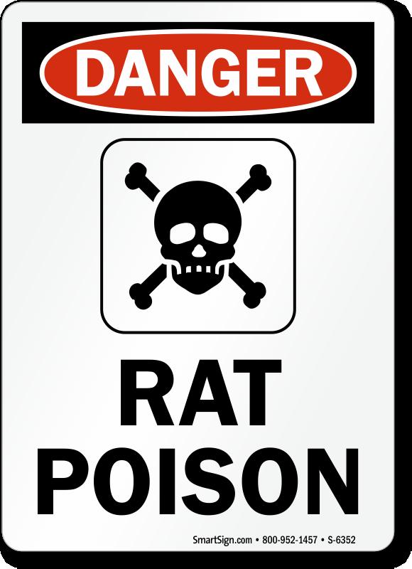 Rat Poison Danger Sign, SKU: S.