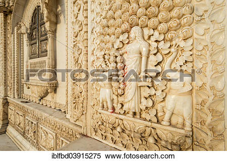 """Stock Image of """"Relief, Karni Mata Temple or Temple of Rats."""