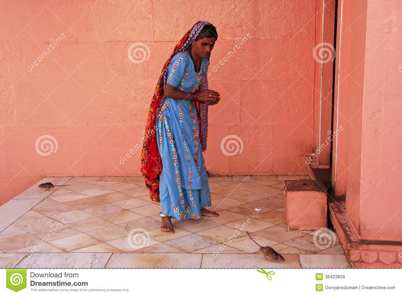 Indian Woman Offering Food For Rats, Karni Mata Temple, Deshnok.